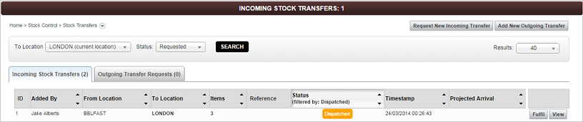 Stock Transfers screen