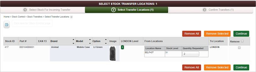 Select Stock Transfer Location screen