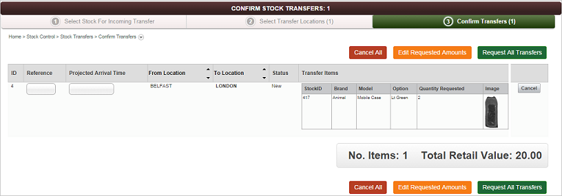 Confirm Stock Transfer screen