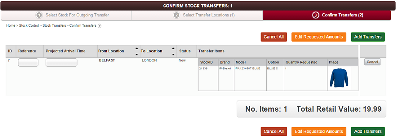 Confirm Outgoing Stock Transfer screen