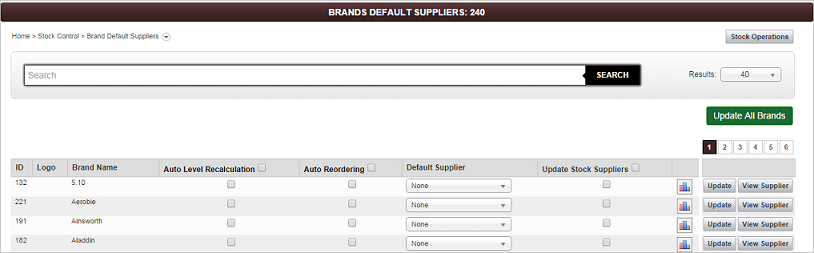 Brand Default Suppliers screen
