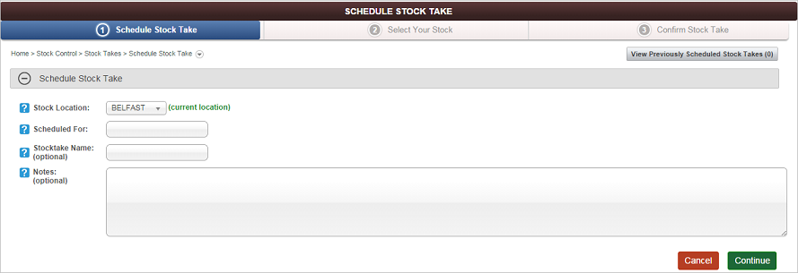 Schedule Stock Take screen