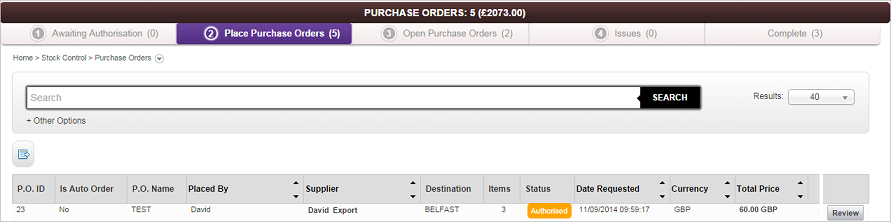 Place Purchase Orders screen