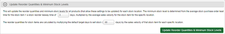 Update Reorder Quantities and Minimum Stock Levels section