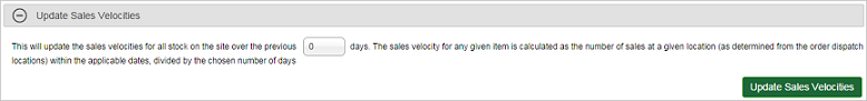 Sales Velocities section