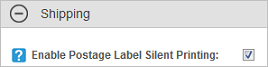 Enable Postage Label Silent Printing application setting