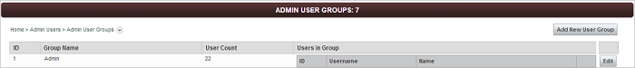 Admin User Groups screen