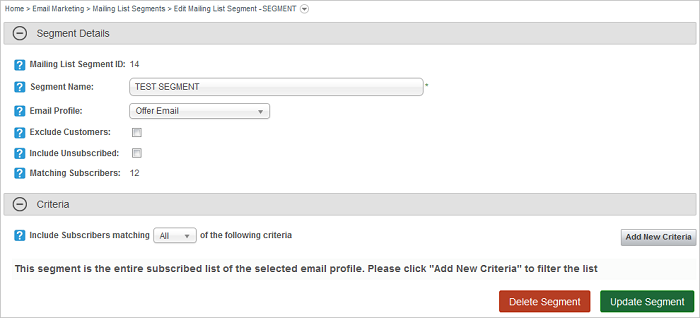 Mailing List Segment Edit screen