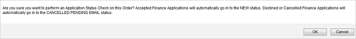 Incomplete Finance Orders Application Status Check message
