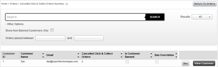 Cancelled Click and Collect Orders screen