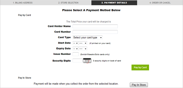 Click and Collect Payment Method screen