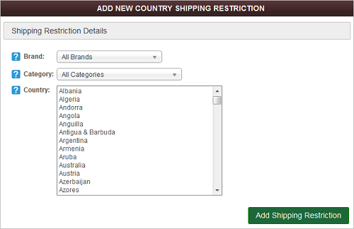 Add New Shipping Restriction screen