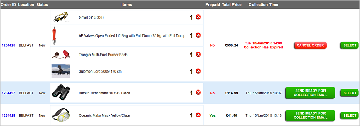EPOS New Click and Collect Orders screen