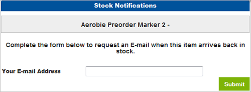 Stock Notifications Email Address window