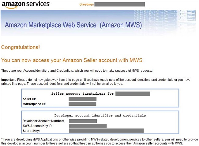 Amazon Marketplace Web Service Account Details screen