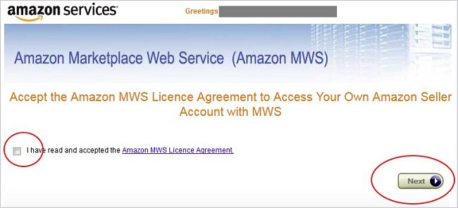 Amazon Marketplace Web Service Licence Agreement screen