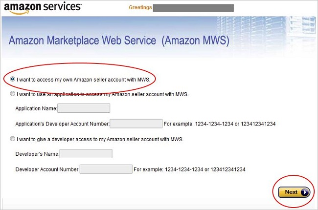 Amazon Marketplace Web Service Seller Account selection