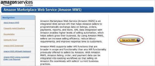 Amazon Marketplace Web Service website