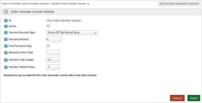 Add Order Automatic Voucher screen