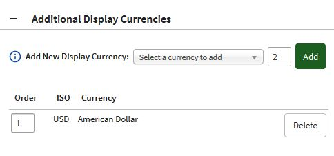 Additional Display Currency added