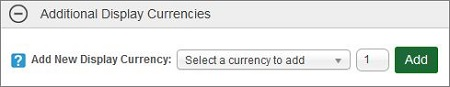 Additional Display Currencies section