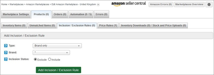 Amazon Inclusion / Exclusion Rules