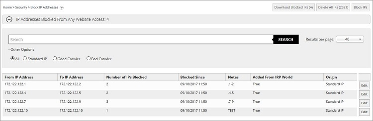 Blocked IP Addresses