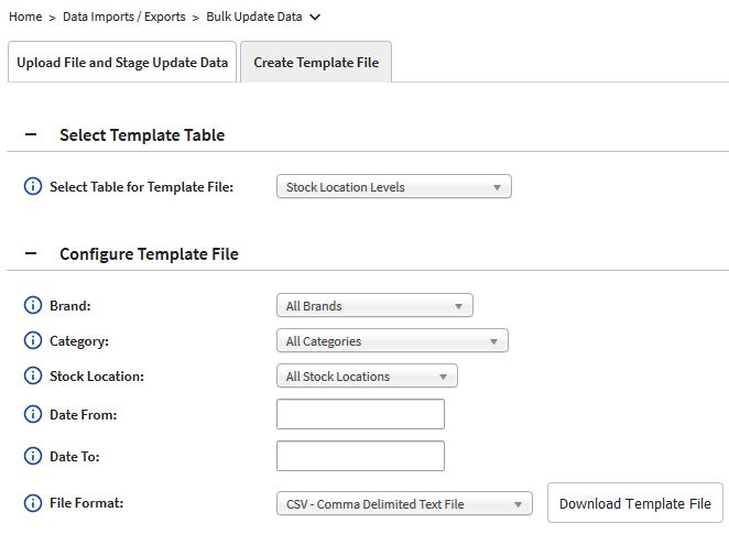Configure Template File section