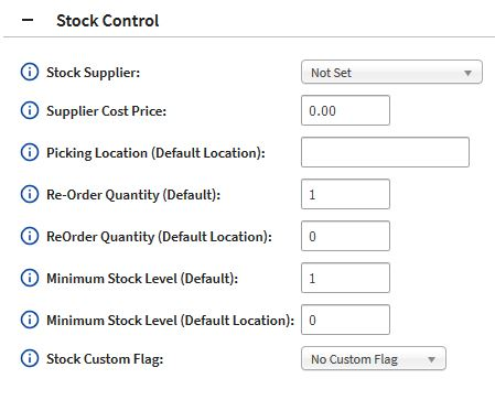 Model Page Minimum Stock Level section