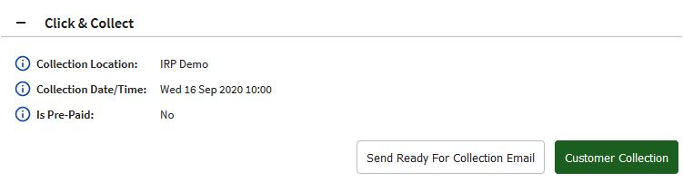Click and Collect Order Details on Manage Orders page