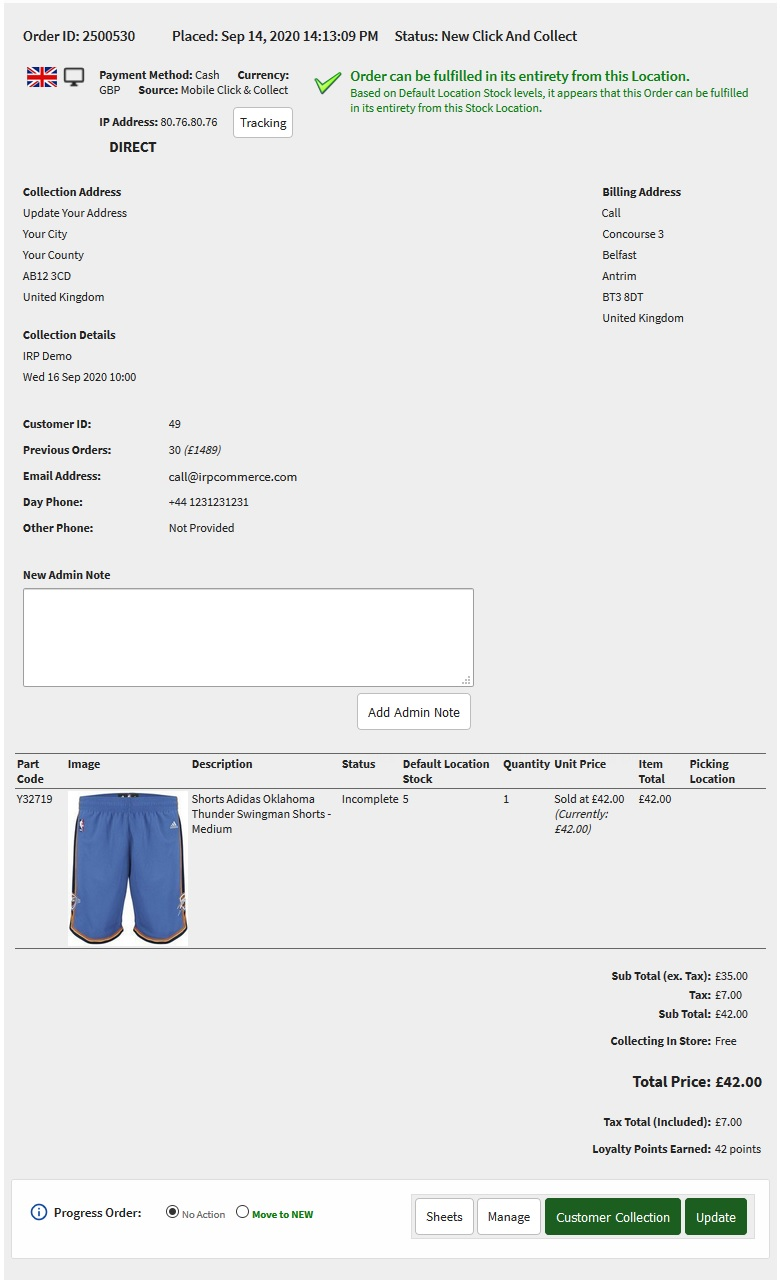 Click and Collect Order on Orders page