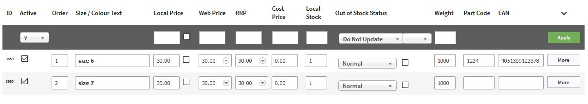 Model Page Stock Stock Status section