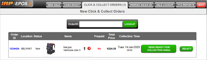 Click and Collect Order EPOS page
