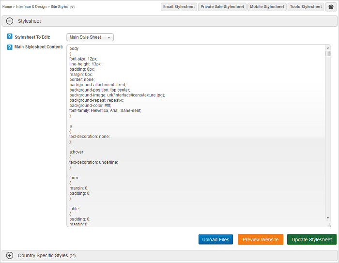 Website CSS StyleSheet main screen