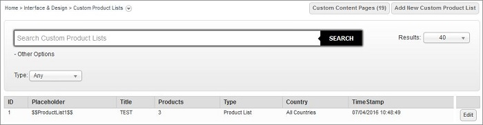 Custom Product Lists main screen in IRP Admin