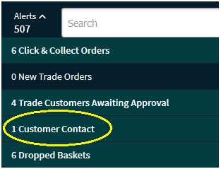 Alerts drop down list showing number of customer contacts