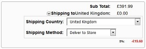 Deliver To Store Shipping Method option on basket page