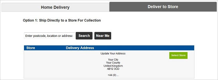 Deliver To Store details on delivery page