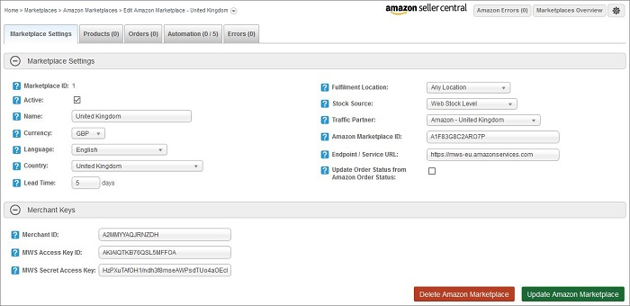 Edit an Amazon Marketplace screen