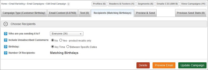 Email Birthday Recipients tab
