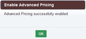 Enable Advanced Pricing confirmation