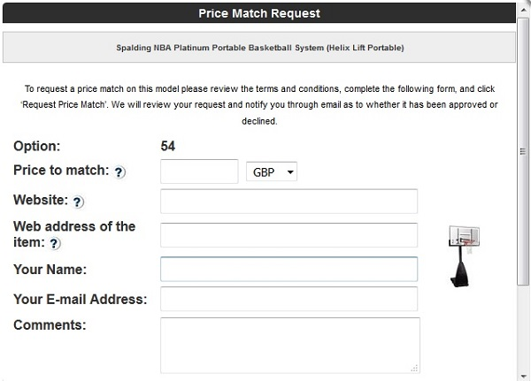 Price Match request form - top