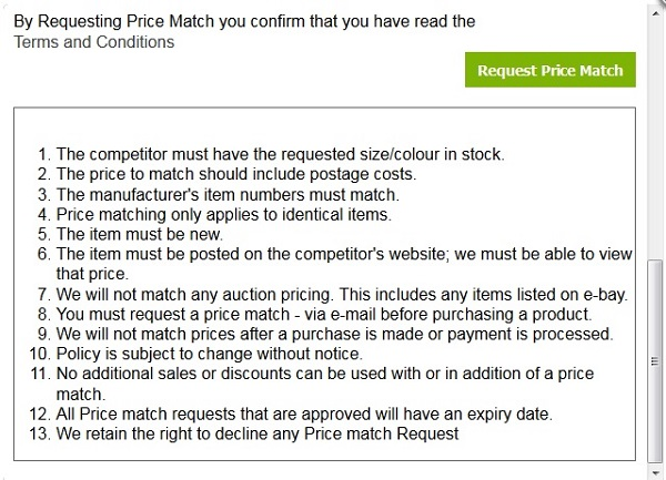 Price Match request form - bottom