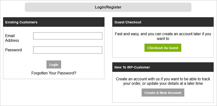 Guest Checkout screen