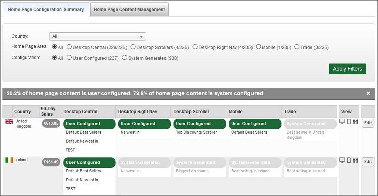 Home Page Configuration Summary Tab