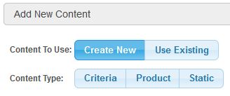 Create New Home Page Options - Criteria, Product or Static