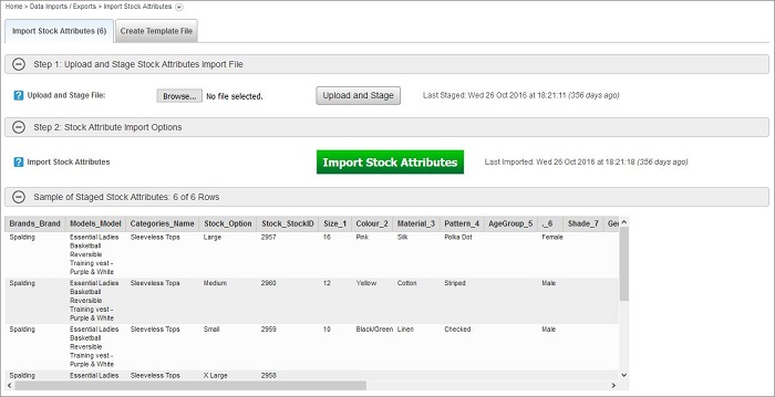 Import Stock Attributes