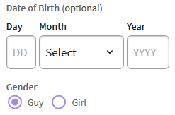 IRP customer enter birthday and gender