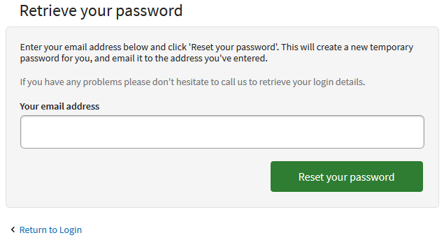 IRP customer desktop reset password page
