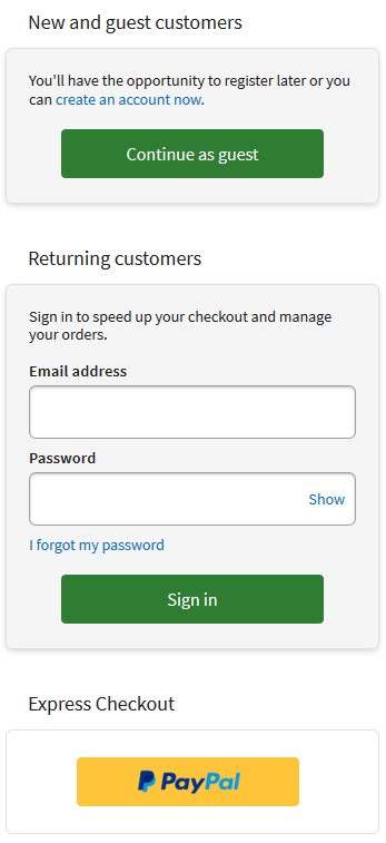 IRP customer mobile login page